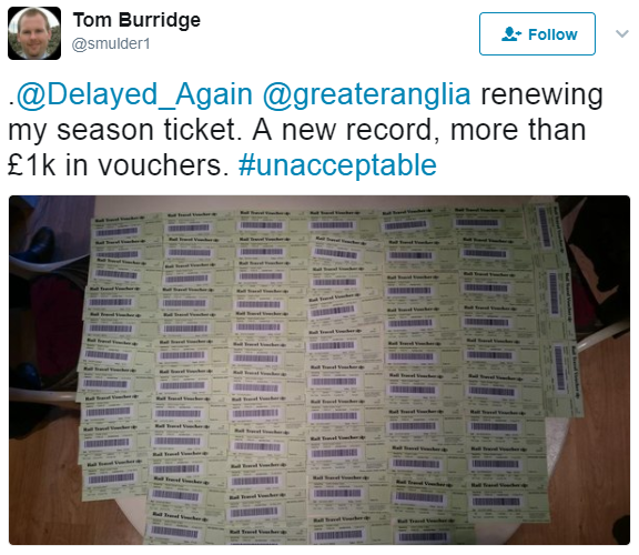 Multiple train delay compensation vouchers